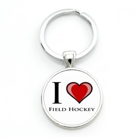 Llavero I Love Field Hockey Blanco-Rojo