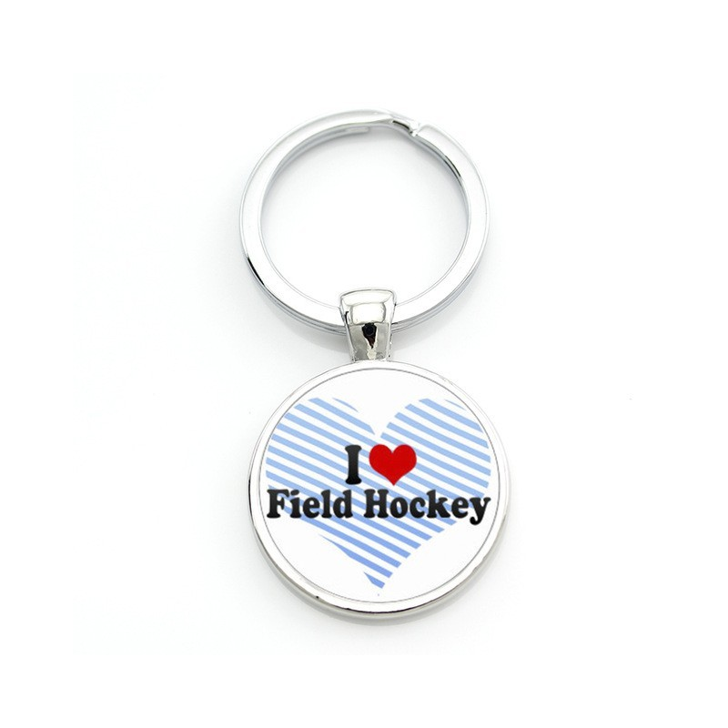 Llavero I Love Field Hockey Blanco-Azul-Rojo