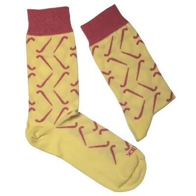 Calcetines con motivos de Hockey Yeock Electric Amarillo-Rojo